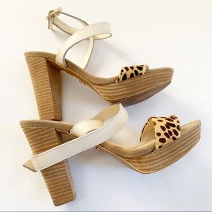 3 for $25 - Chunky Cheetah Print Wrap Heels